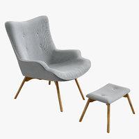 3D ejerslev armchair grey - model