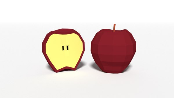 cartoon fruits apple 3D model