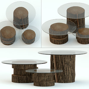 3D tables stump glass model