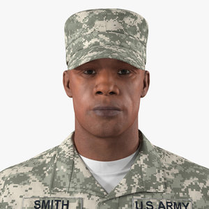 african-american soldier acu rigged 3D model