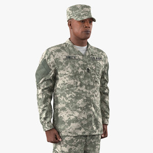african-american soldier acu rigged 3D