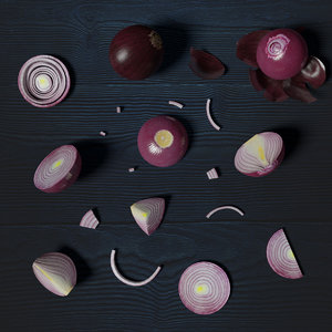 red onion photorealistic scene model