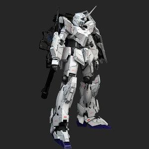 3D gundam unicorn gun model