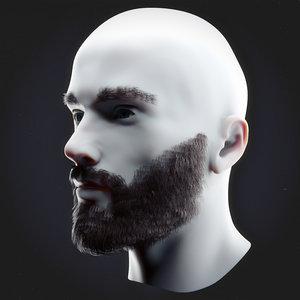 beard mustache head model