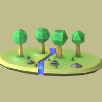 cartoon forest tree 3D model