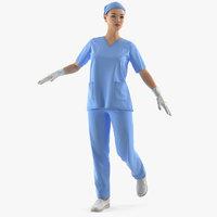 asian female surgeon rigged model