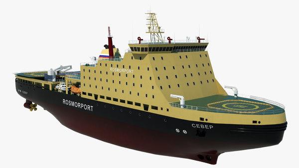 icebreaker sever vessel cargo ship 3D model