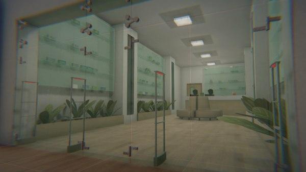 3D model vr pharmacy - interior