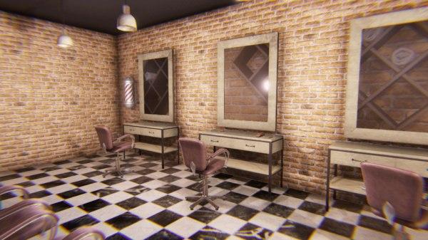 vr barber shop - 3D model