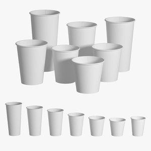 paper cups set 3D model