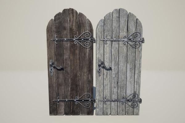 3D wooden medieval door