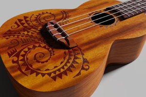 3D ukulele instrument music model