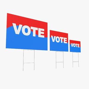 voting sign 3D model