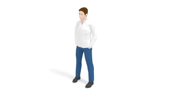 casual man modelled low-poly 3D model