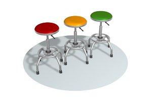chair pew stool 3D model