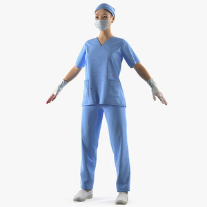 3D asian female surgeon stained model