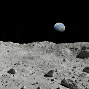 moon surface scene 3D