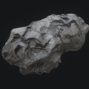 3D meteor asteroid rock 4k model