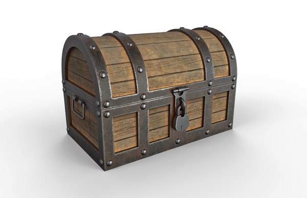 3D model realistic old treasure chest