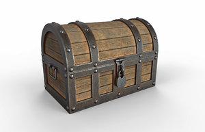 3D model realistic old treasure chest