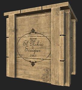 wooden wine crate model