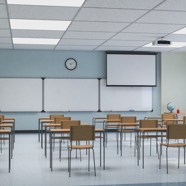 interior scene school classroom 3D model