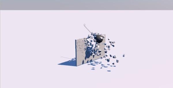 3D simple wrecking ball scene