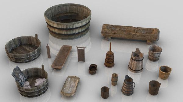 17 medieval wooden assets 3D model
