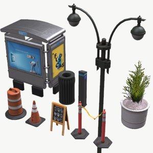 street elements pbr lantern 3D model