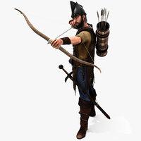 3D archer rigged hair