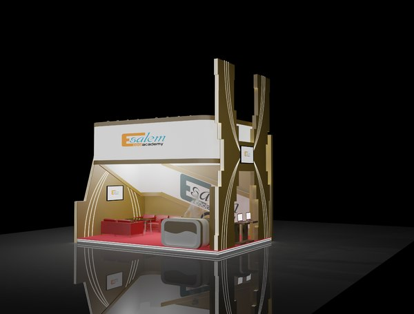 3D model 4x6 exhibition booth stand