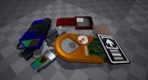 3D model pack sci-fi keycards