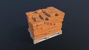 3D stack bricks pallet pbr model