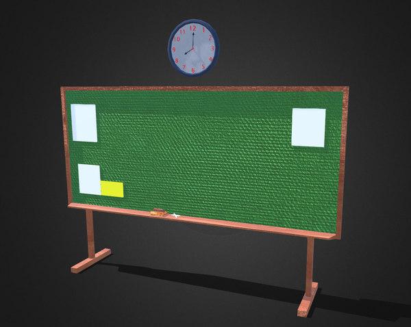 3D model blackboard wall clock