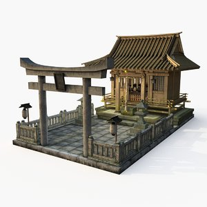 3D japanese shrine temple