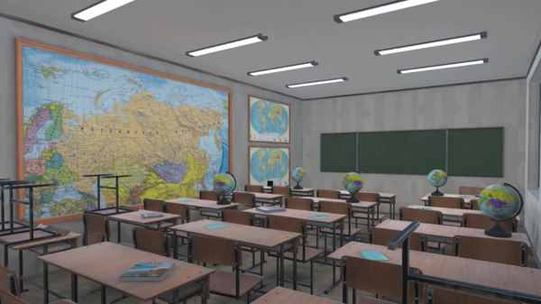vr school - class 3D model