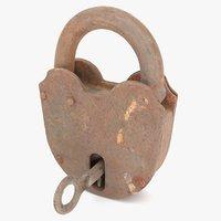 3D metalness padlock key locked model