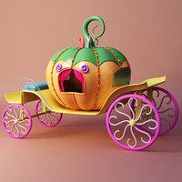 cartoon pumpkin cart 3D model