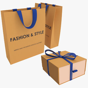 gift cardboard package box 3D model