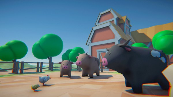 3D model cartoon farm animals
