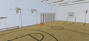 vr school gym interior room 3D