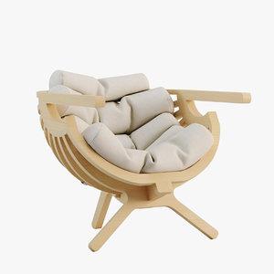3D branca shell chair model