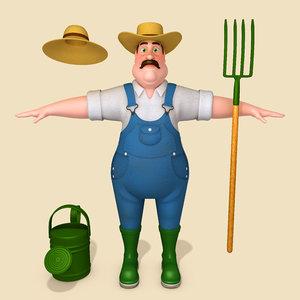 3D model cartoon farmer