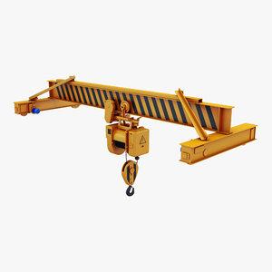 3D model overhead crane hoist 1