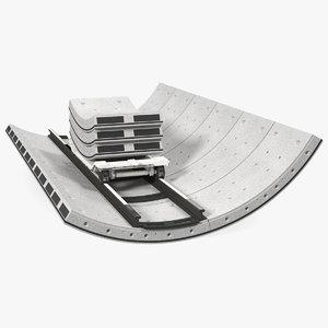 concrete tunnel rails trolley 3D model