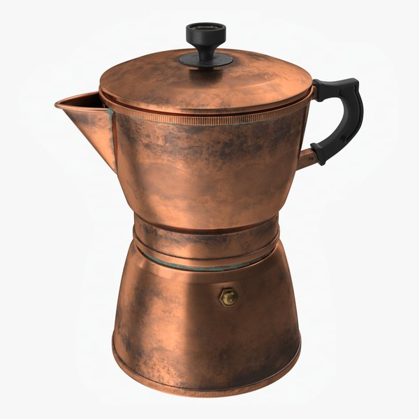 3D copper coffee pot