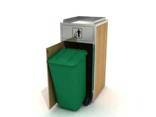 3D recycle bin modelled model
