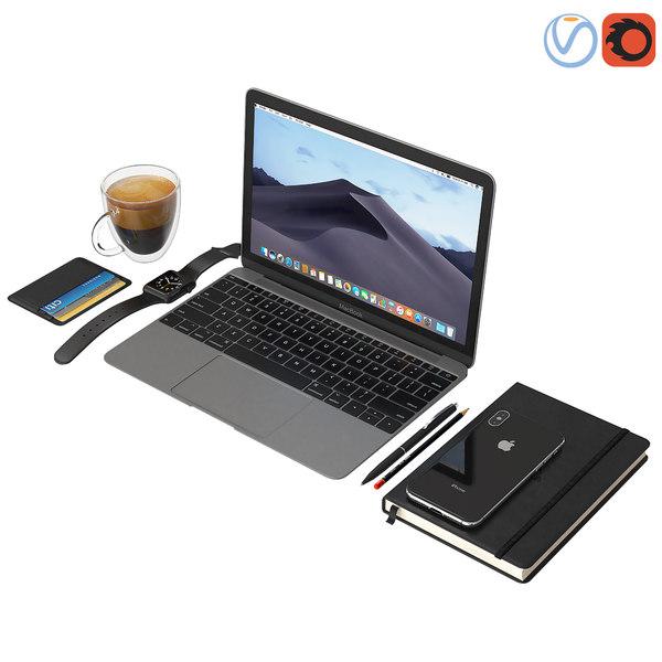3D workplace macbook iphone