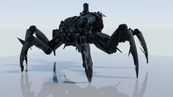 3D alien spider metal model