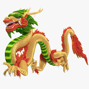 3D colorful chinese dragon rigged model